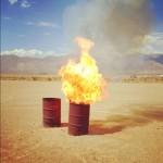 Some scraps in the burn barrel.